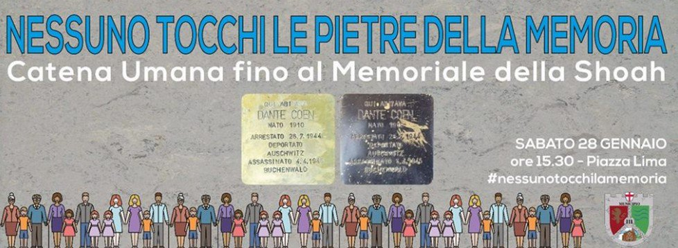 Catena umana da via Plinio al Binario 21 per la Giornata della Memoria
