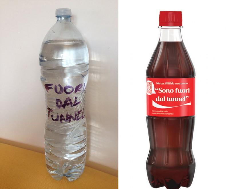 """Caparezza, Coca-cola e la bottiglia no logo: """"Chi è fuori dal tunnel beve acqua"""""""