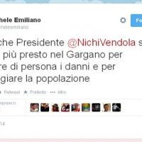 """Vendola-Emiliano, scintille su Twitter:<br />""""No a sciacalli su dramma del Gargano"""""""