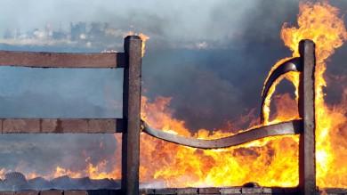 Brindisi: brucia il parco naturalistico -   Foto   inaugurato a giugno, l'incendio doloso