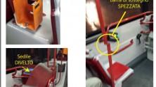 """Foto  - """"Sedili divelti  e sostegni spezzati ecco come si viaggia  sui bus dell'Amtab"""""""