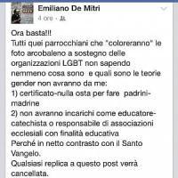 """Omofobia, il diktat del parroco salentino: """"Avete su Fb la foto con l'arcobaleno? Non..."""