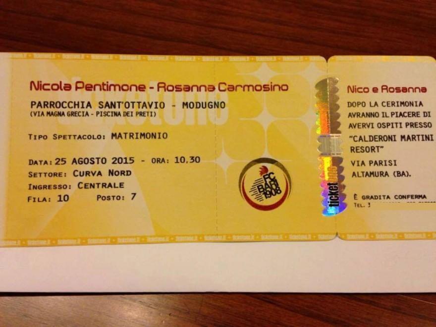Matrimonio Tema Nord E Sud : Bari l invito di nozze è sul biglietto per il san nicola