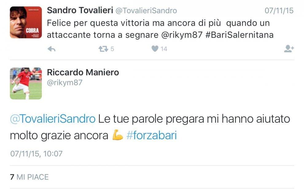 Bari, Tovalieri twitta e Maniero segna: il gol è social