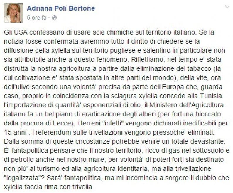 """Poli Bortone su Fb: """"Xylella colpa delle scie chimiche?"""""""
