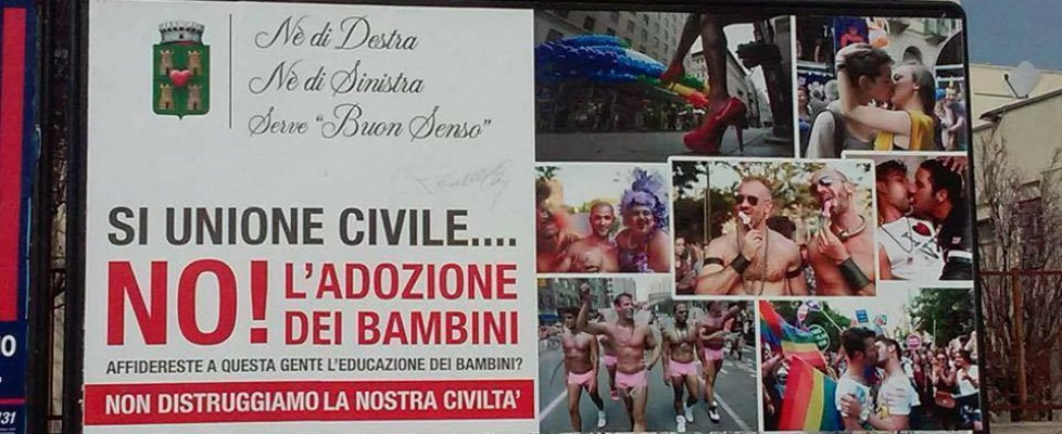 """Omofobia, Arcigay Bari contro ex assessore: """"Manifesti offensivi sulla stepchild adoption"""""""