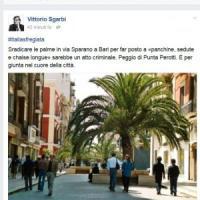 Bari, il post di Sgarbi contro via Sparano senza palme: