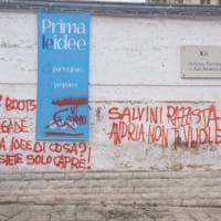 Andria, scritte sui muri contro l'arrivo di Salvini. Il leghista: