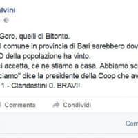 Bitonto, Salvini su Facebook: