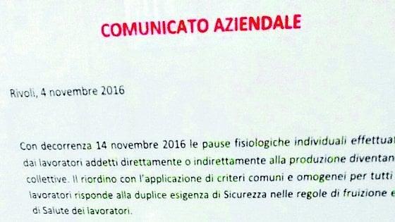 """""""Operai in bagno solo tutti insieme"""", a Bari e Torino il diktat dell'azienda per evitare sprechi di tempo"""