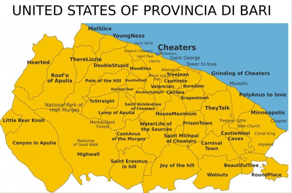 Cartina Geografica Italia Bari.United States Of Bari Una Mappa Tutta Da Ridere 1 Di 1 Bari