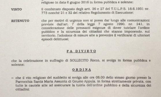"""Bari, manifesto del parroco per il boss ucciso in Canada. Il questore: """"Rito privato e niente cortei"""""""