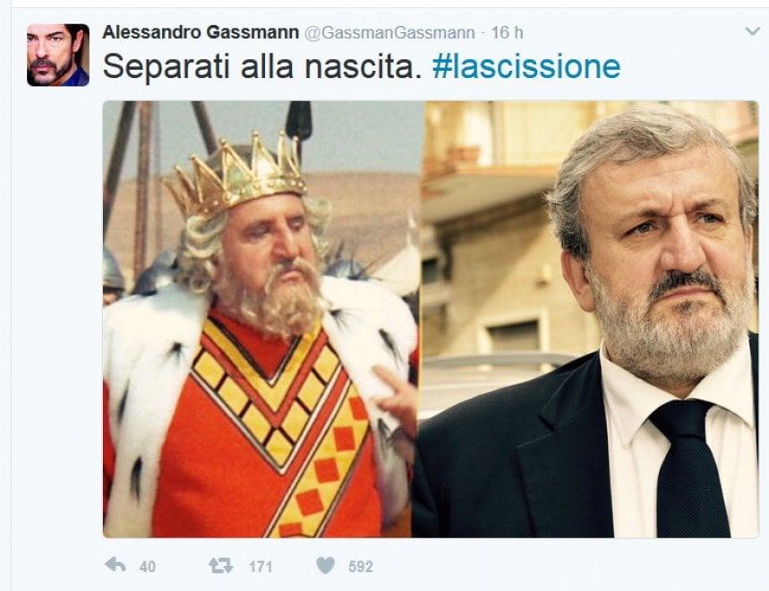 Pd, il tweet di Gassman: 'Emiliano come in Brancaleone'