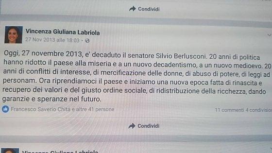 """Eletta con M5S, passa a  Forza Italia. Ma nel 2013 scriveva: """"Con Berlusconi l'Italia è nel Medioevo"""""""