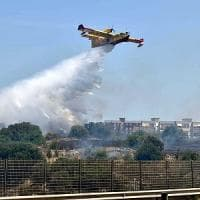 Bari, a fuoco il parco naturale di Lama Balice: in azione un Canadair e un elicottero