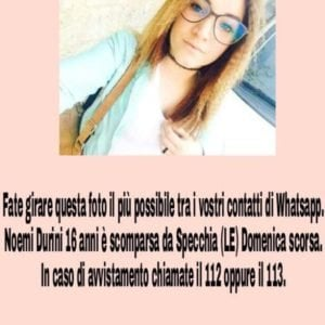 """Lecce, allarme per una 16enne scomparsa: """"Sparita da 7 giorni senza lasciare traccia"""""""