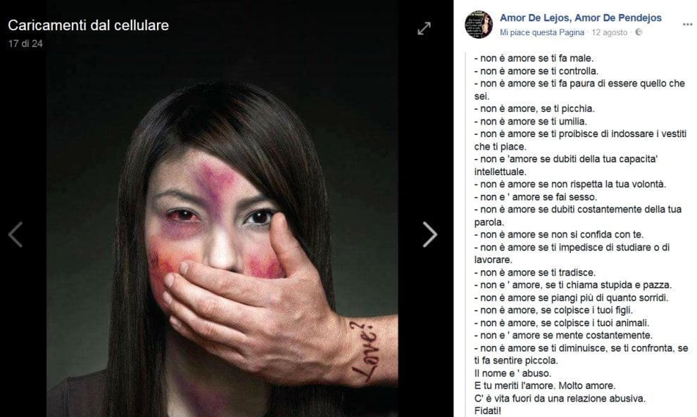 "Noemi, l'ultimo post su Fb: ""Non è amore se ti fa male"""