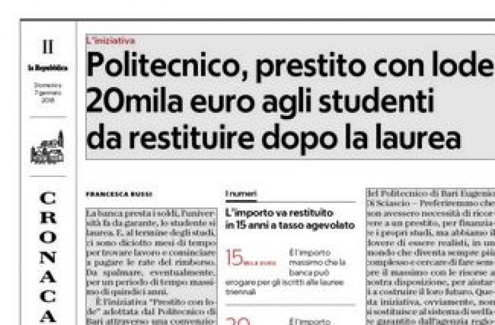 Bari, il Politecnico vara il prestito con lode: 20mila euro da restituire dopo la laurea