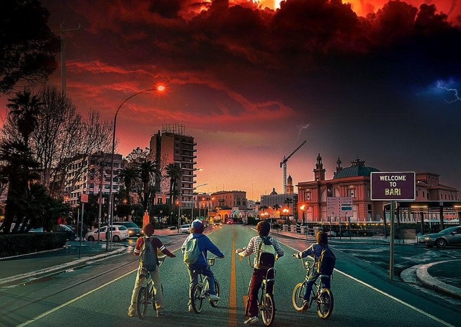 Stranger Things e Iron man sul lungomare di Bari: i fotomontaggi d'autore sulle serie tv