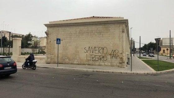 Lecce, scritte No Tap imbrattano l'ex convento degli Agostiniani restaurato di recente