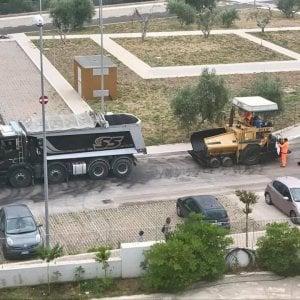 Bari, arriva il nuovo asfalto a BariDomani: il complesso residenziale cambia volto