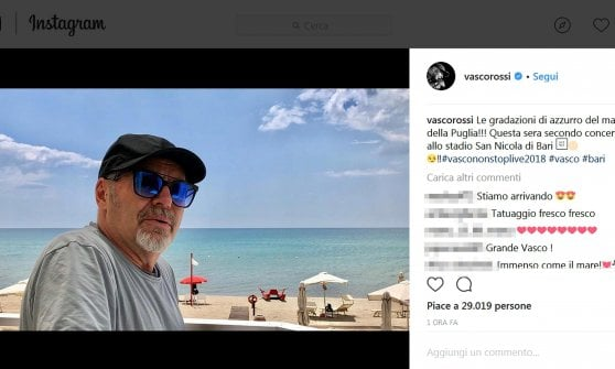 """Vasco Rossi dopo il doppio live di Bari: """"Siete speciali e vivi. La Puglia è un po' come casa"""""""