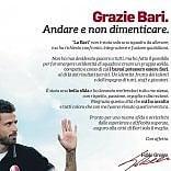 """Bari calcio, l'ex allenatore  Fabio Grosso saluta  la squadra sui giornali:  """"Grazie, è stato bello"""""""
