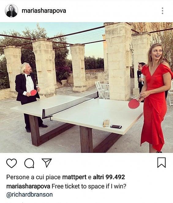 Vacanze vip in Puglia, Maria Sharapova  gioca a ping pong con Richard Branson
