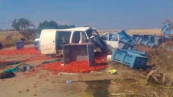 Foggia, scontro con un tir carico di pomodori: muoiono 4 braccianti, 5 feriti