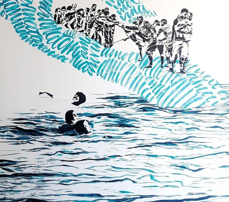 Andria, il murale dell'accoglienza disegnato in ospedale