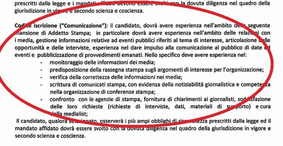 """Regione Puglia, ecco il bando che smentisce la dirigente: """"Addetto stampa ma non giornalista"""""""
