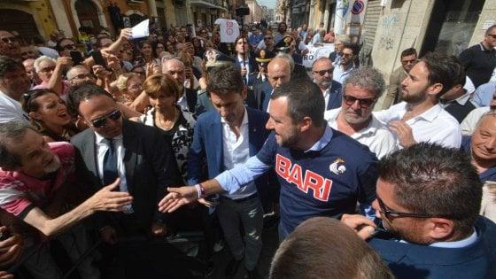 """Bari, arriva il ministro Salvini nel quartiere Libertà: """"Qui più uomini e mezzi contro spaccio e racket"""""""