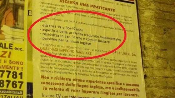 """Manifesto sessista nel Foggiano per una scuola d'inglese, l'autore: """"Stavo solo cercando moglie"""""""