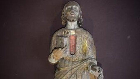 Conversano, restituita al santuario la statua di sant'Ulpiano rubata alla fine degli anni '80