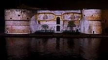 Babbo Natale sul castello videomapping a Taranto