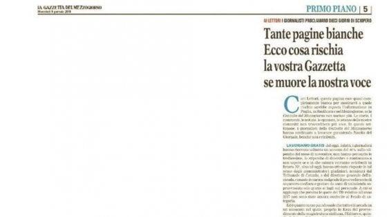 """La Gazzetta del Mezzogiorno in edicola con una pagina bianca: """"E' il rischio se muore la nostra voce"""""""