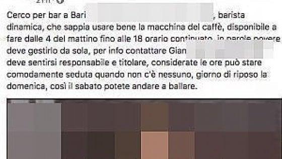 """'Cerco barista per 14 ore al giorno, ma ci si può sedere', l'annuncio di lavoro indigna i social: """"Schiavitù"""""""
