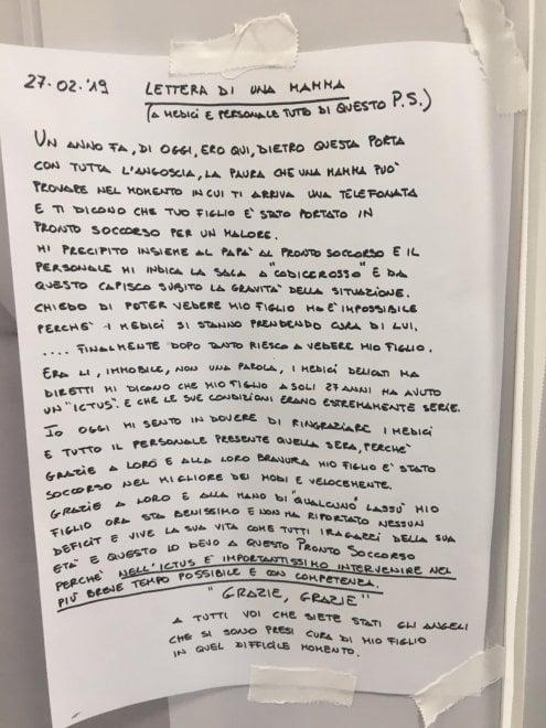 """Policlinico di Bari, lettera affissa al pronto soccorso:: """"Grazie angeli che avete salvato mio figlio"""""""