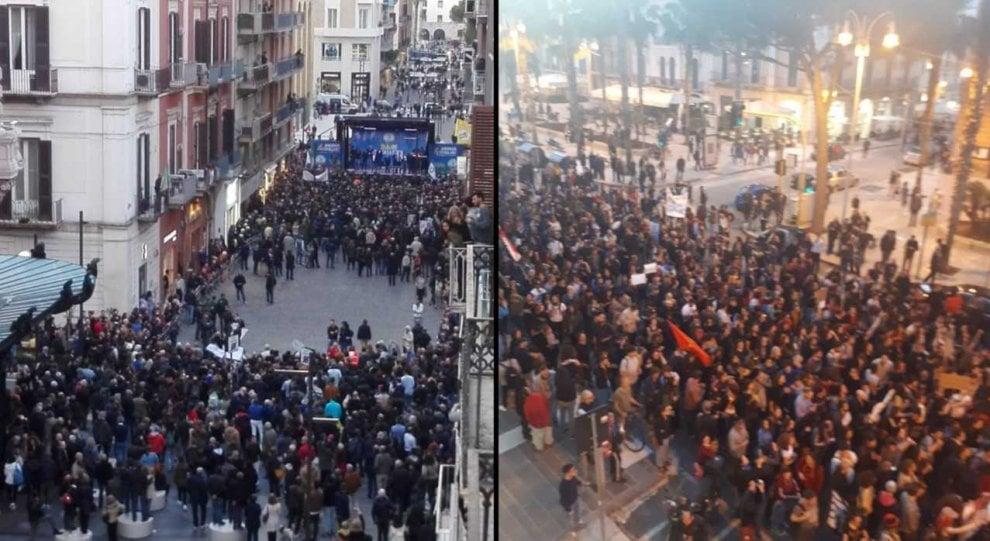 Bari, comizio di Salvini per pochi intimi: i manifestanti sono il doppio