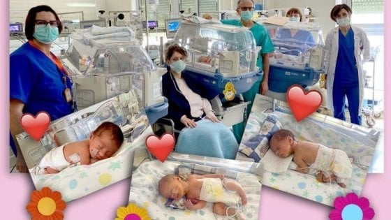 """Tre gemelline nascono a Foggia nei giorni del Coronavirus. Medici e infermieri: """"Amore vince su tutto"""""""