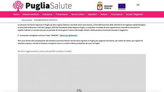 Fase 2, troppi accessi da chi rientra in Puglia: in tilt il sito della Regione per autosegnalarsi