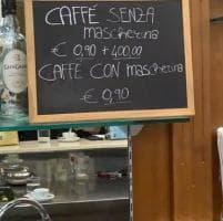 """""""Caffè senza mascherina 90 centesimi più 400 euro di multa"""", la trovata di un barista di Gravina"""