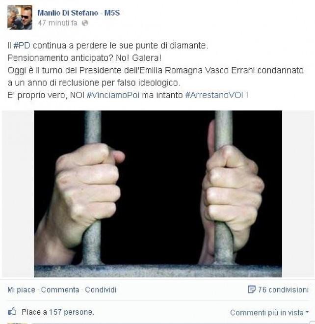 """Errani condannato, il Movimento 5 Stelle: """"#arrestanovoi"""""""