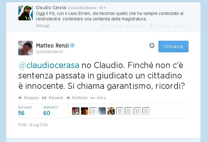 """Caso Errani, Renzi: """"Innocenti fino a sentenza definitiva, è il garantismo"""""""