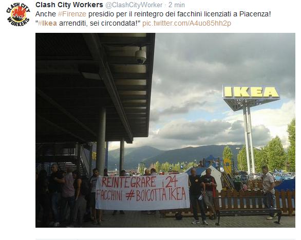 #SmontaIkea, protesta in tutta Italia per i facchini licenziati a Piacenza