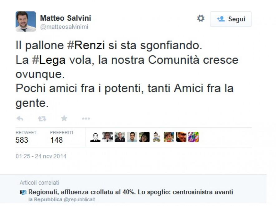 Regionali, Salvini: Renzi si sta sgonfiando