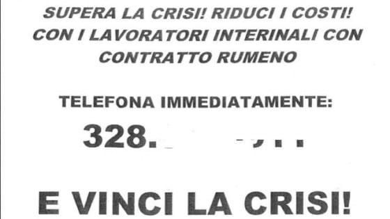 """Modena, agenzia interinale propone """"contratti rumeni'': ''Risparmio del 40%''"""
