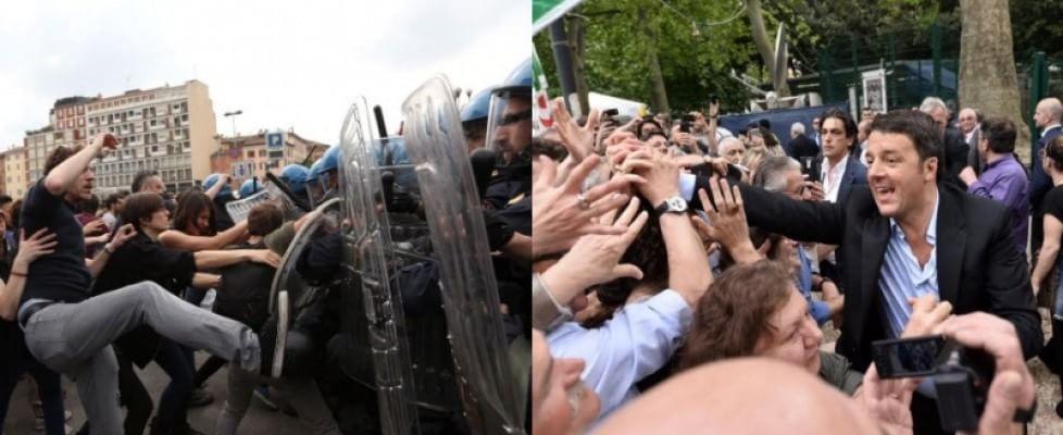 Renzi a Bologna, scontri centri sociali-polizia