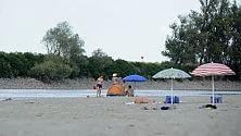 Il Po è in secca, al posto del fiume c'è la spiaggia
