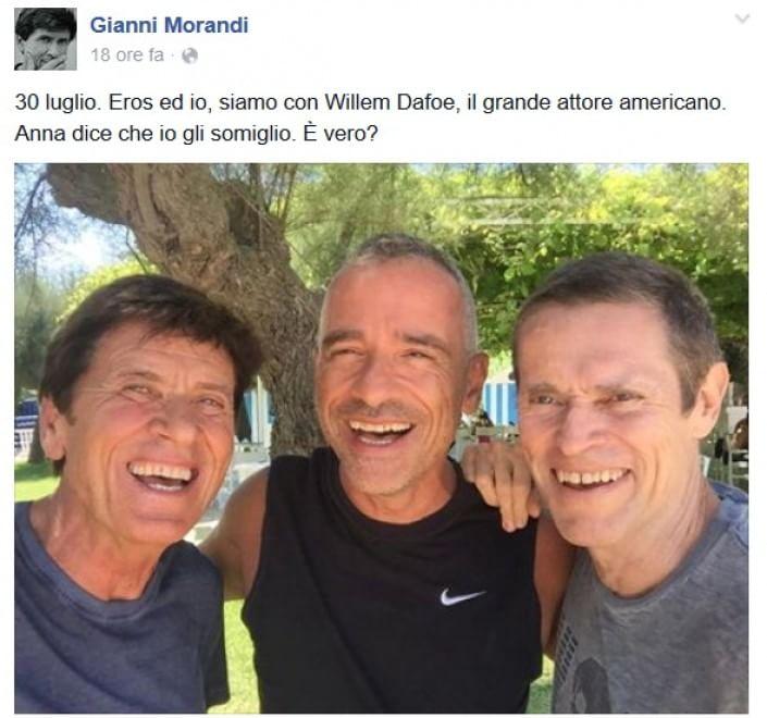 """Morandi e il selfie con Dafoe: """"E' vero che gli somiglio?"""""""